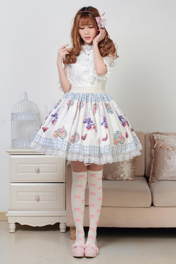 GZ74 春夏秋 ウサギ柄プリーツスカート 裾レース ロリータファッション