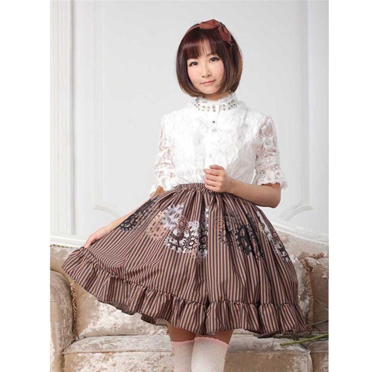 ロリータ衣装専門店lolita Alice Gz104 春夏秋 歯車柄プリーツ